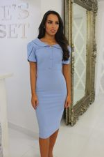 Blue Collared Midi Dress