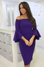 Purple Bardot Bell Sleeve Dress