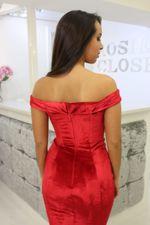 Velvet Bardot Dress Red