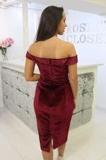 Velvet Bardot Dress Burgundy