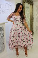 Pink Mesh Floral Skater Dress
