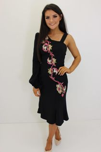 Black Bardot Floral Embroidery Dress-Copy