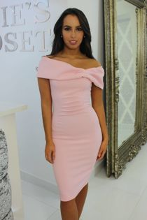 Bardot Midi Dress Blush Pink