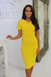 Yellow Collared Midi Dress-Copy