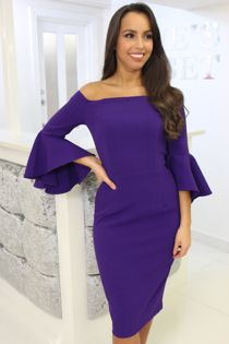 Purple Bardot Bell Sleeve Dress