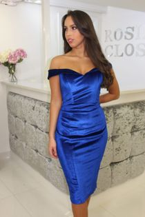 Velvet Bardot Dress Blue