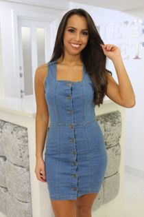 Denim Button Up Mini Dress