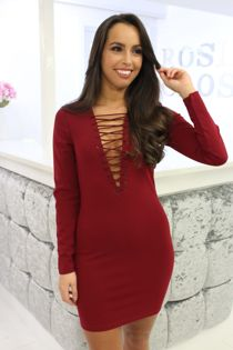 Burgundy Lace Front Dress