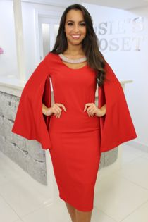Red Split Sleeve Dress