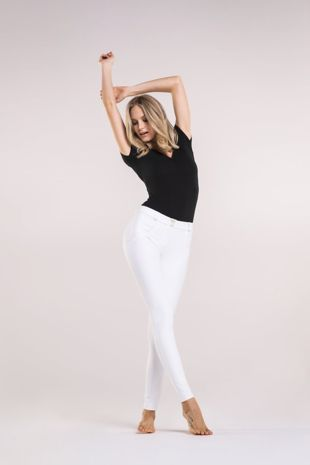 White Faux Leather Freddy Jeans