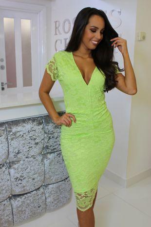 Neon Green Lace Dress