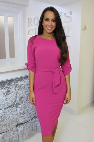 Pink 3/4 Sleeve Dress