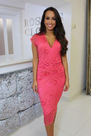 Neon Pink Lace Dress
