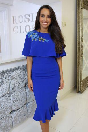 Cobalt Blue Cape Style Dress