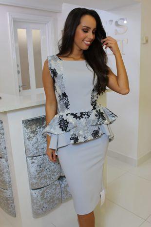 Grey Peplum Lace Detail Dress