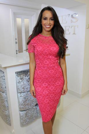 Fuschia Pink Lace Dress