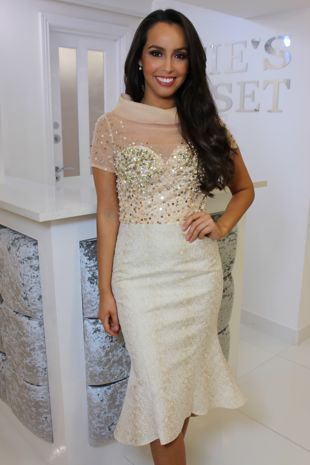 Champagne Sequin Top Fishtail Dress