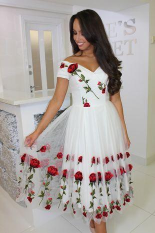 Ivory Red Roses Skater Dress