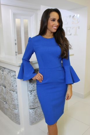 Cobalt Blue Bell Sleeve Dress