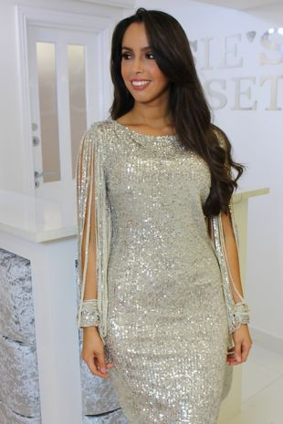 Kendall Silver Sequin Midi Dress