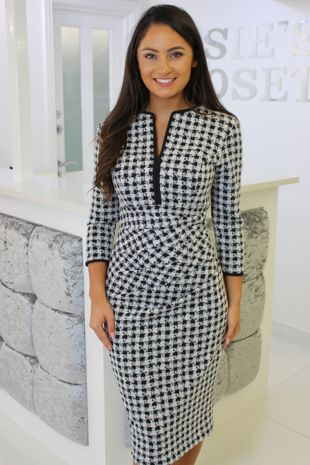Black and White Houndstooth Pencil Dress