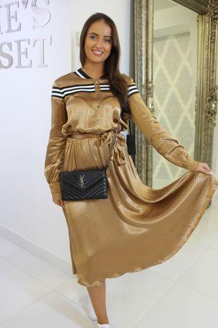 Gold Silk Midi Dress