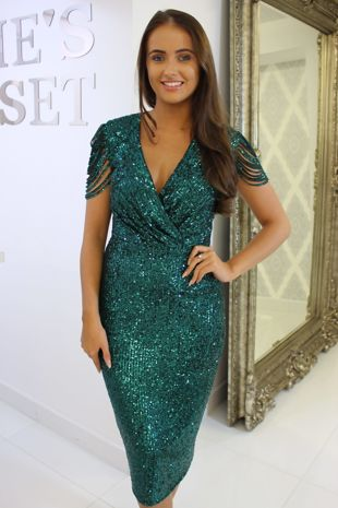 Khloe Green Sequin Midi Dress