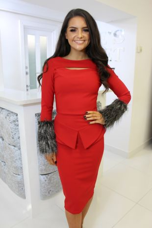 Red Fur Detail Two-Piece Top & Midi Skirt
