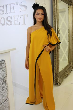 Mustard and Black Cape Style Jumpsuit