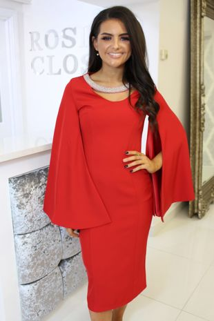 Red Midi Dress With Split Cape Sleeves