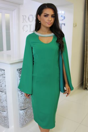 Green Midi Dress With Split Cape Sleeves
