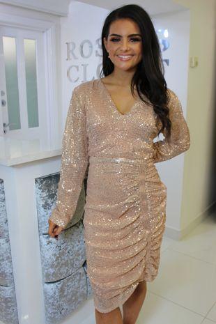 Rose Gold Long Sleeve Sequin Dress