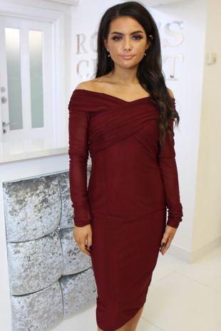 Burgundy Bardot Long Sleeve Mesh Midi Dress
