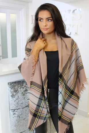 Brown Checked Scarf