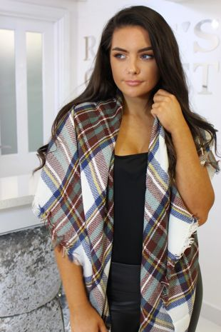 White Checked Scarf