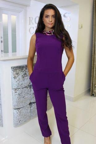 Purple Sequin Backless Jumpsuit