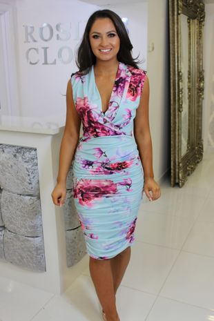 Blue Floral Ruched Bodycon Dress