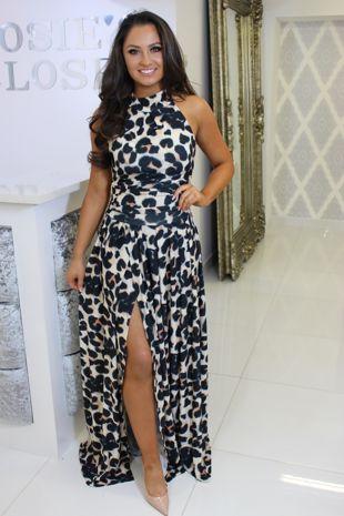 Choker Neck Leopard Print Maxi Dress