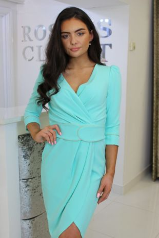 Turquoise 3/4 Sleeve Dress With Belt