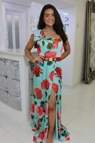 Turquoise Floral Belted Maxi With Leg Split
