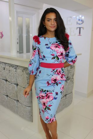 Blue and Pink 3/4 Sleeve Floral Midi Dress