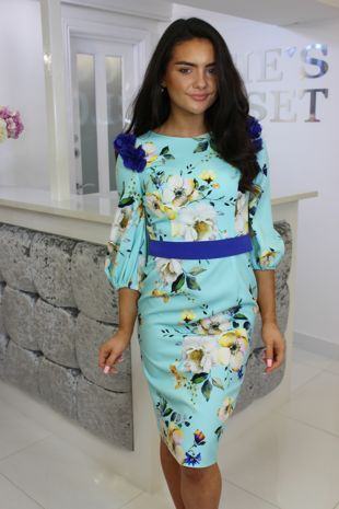 Turquoise and Cobalt 3/4 Sleeve Floral Midi Dress