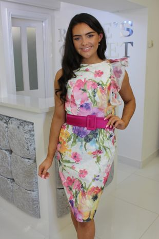Colourful Floral Knee Length Dress
