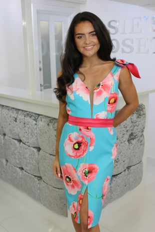 Turquoise and Coral Floral Knee Length Dress