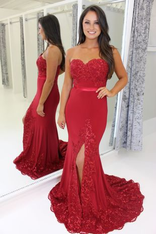 Red Strapless Full Length Prom Dress With Leg Split & Lace Train