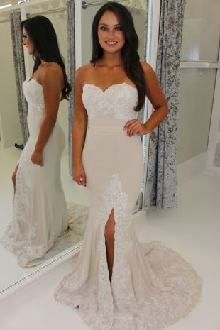 Ivory Strapless Full Length Prom Dress With Leg Split & Lace Train