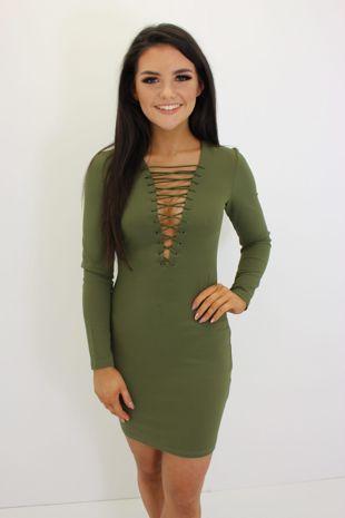 Khaki Lace Front Dress