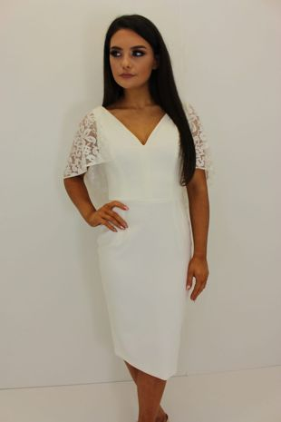 White Lace Cape Dress
