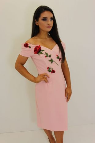 Pink Bardot Red Roses Dress