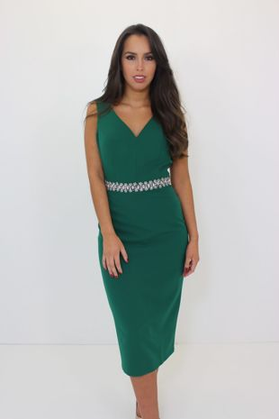 Green Midi Dress with Belt
